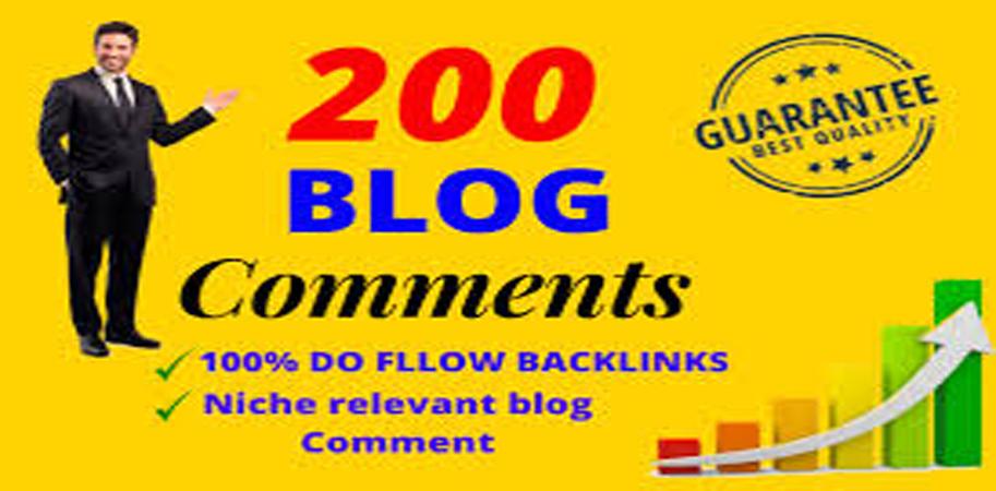 Build 200 Niche Relevant Blog comment backlinks