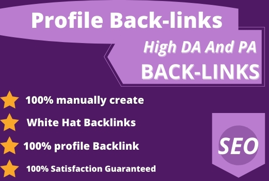 I will do 55 High Authority Profile Backlinks Manually for you