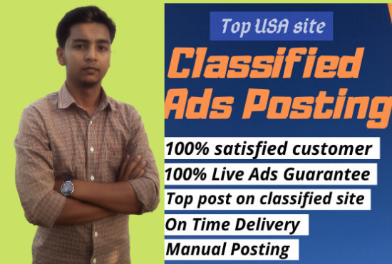 I will post your ads in USA top 50+classified ad posting sites