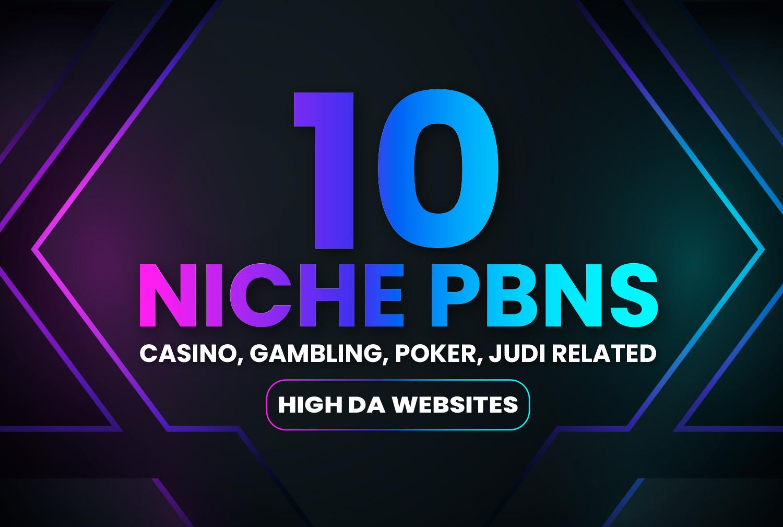get 10 niche casino,  gambling,  poker,  judi Hight DA websites