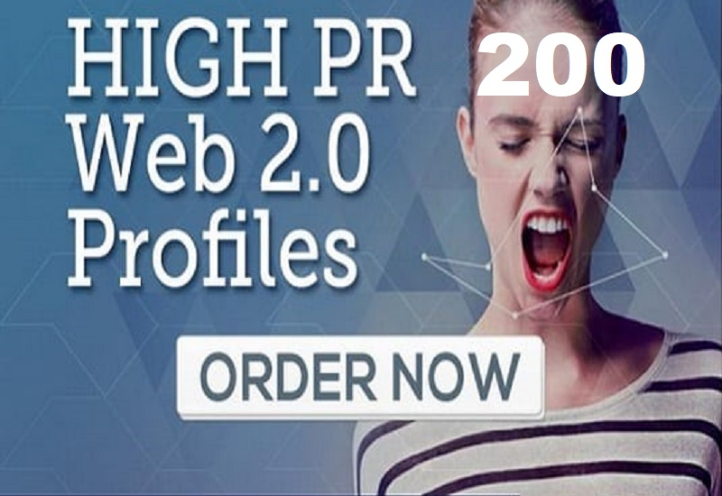 Build 200 high quality Web 2.0 profiles Backlinks offpage seo