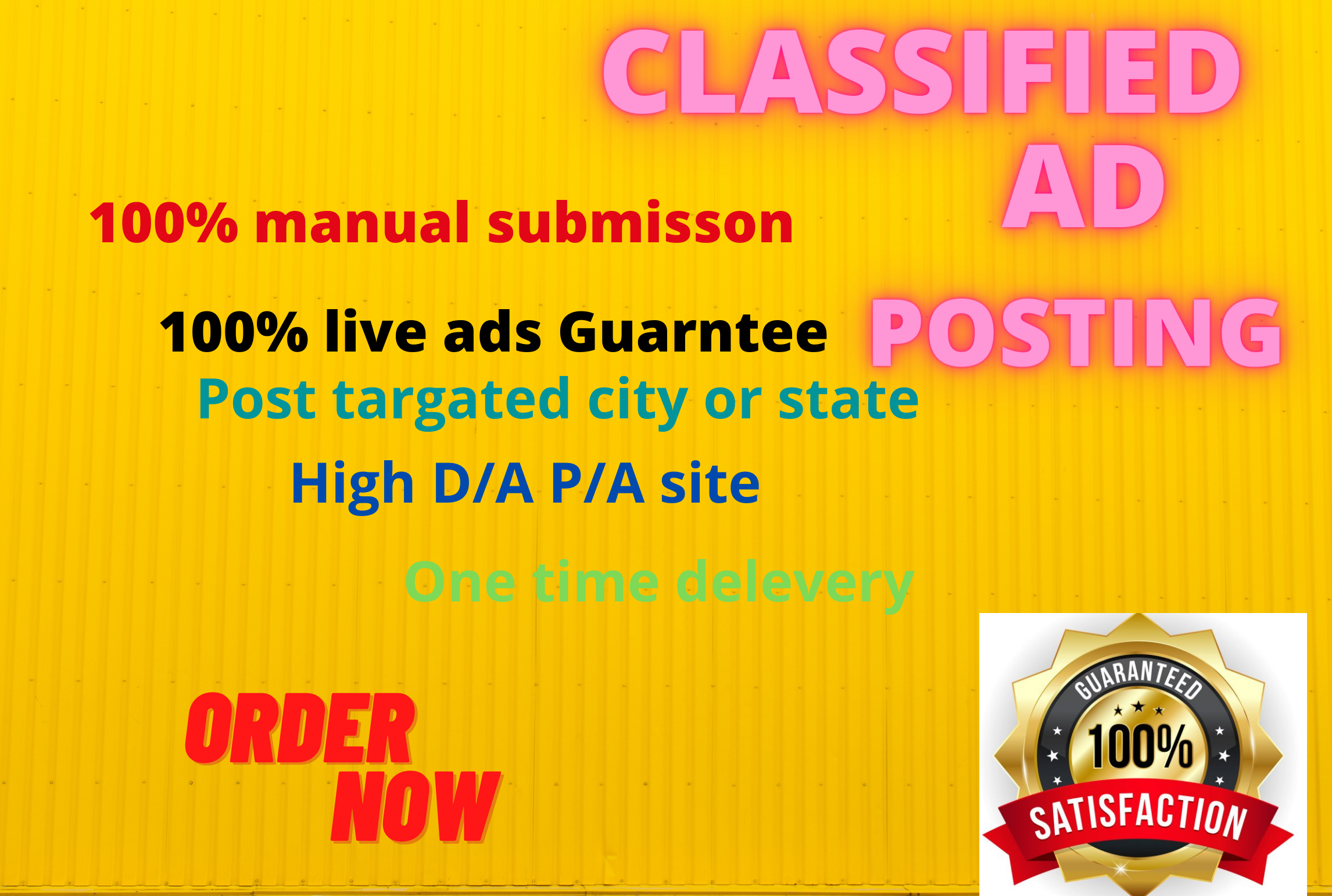 I will post your ads on top rank classified ads posting sites.