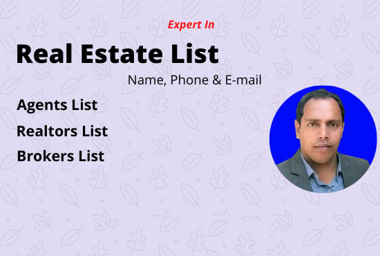 I will build real estate agents,  brokers,  realtors and email lists