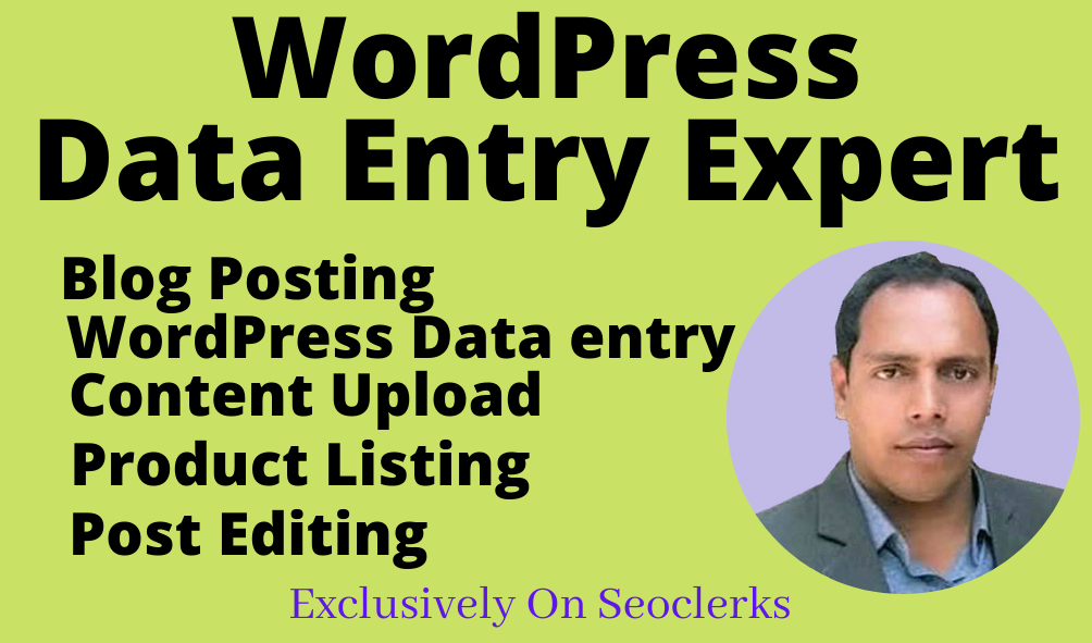 I will do wordPress data entry,  e-commerce product listing,  blog posting,  article posting