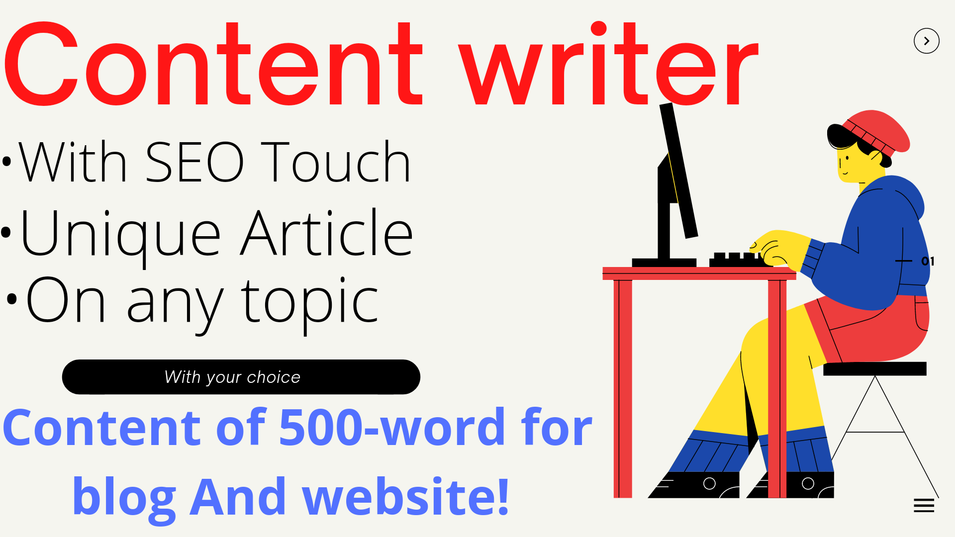 I will write new content,  SEO website,  blog and article writer. 500 words