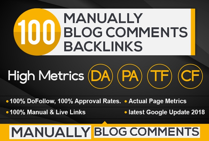 I will add 100 high pa da manually blog comments backlinks