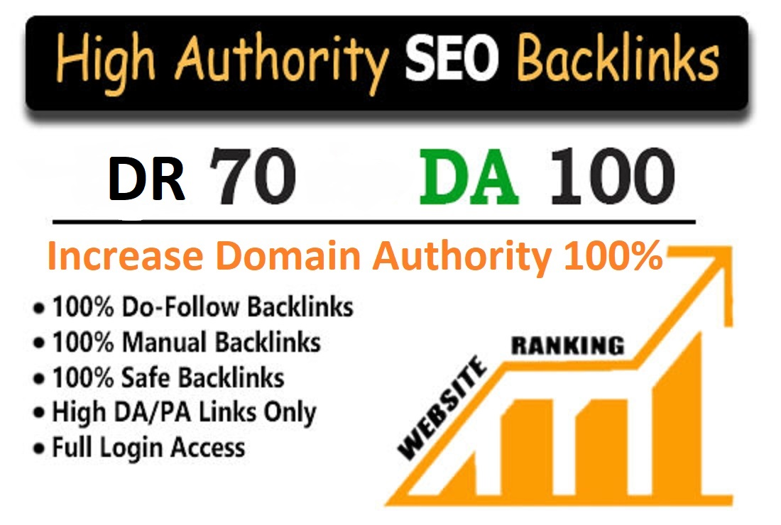 Increase your Domain Authority MOZ DR 70,  DA 100 Dofollow Backlinks in SEO