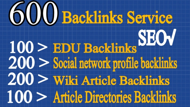 Top 100 EDU, 200 Social Networks profiles, 200 Wiki articles, 100 Article directories Backlinks