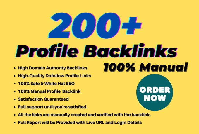 I will do 200+ high da profile backlinks manually for SEO ranking