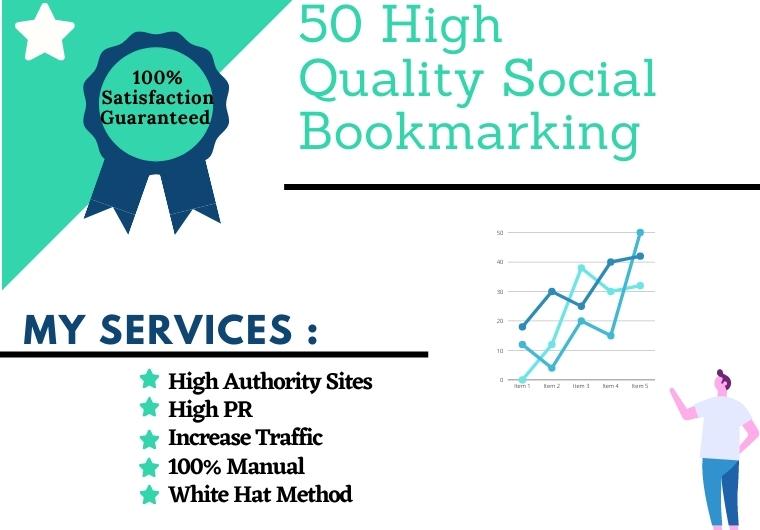 I will do 50 social bookmarking on high da sites