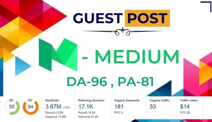 High Quality Guest Post on Medium. com - DA 96