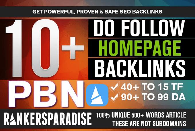I will manually do 10 high pa da tf cf homepage pbn backlinks