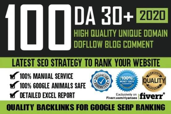 I will do provide 100 high quality dofollow backlinks