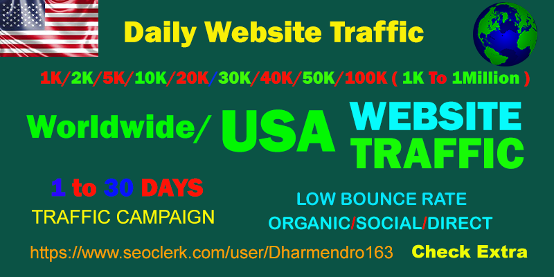 I will Drive 1 Million Worldwide OR USA Keyword/Social Media Traffic To Your Website Within 10 Days