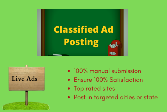 I Will Do 50+ Classified Ads Posting on Top Rated Sites