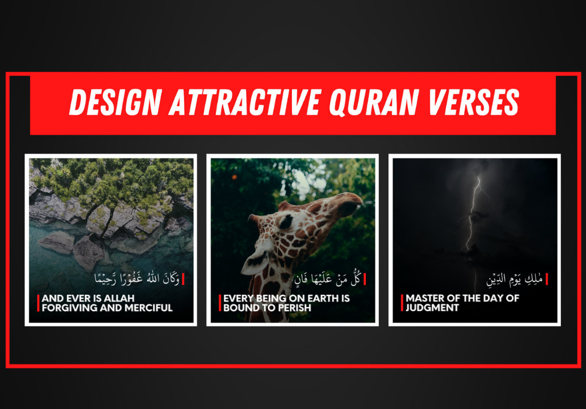 I will design attractive Quran verses, quotes with your logo