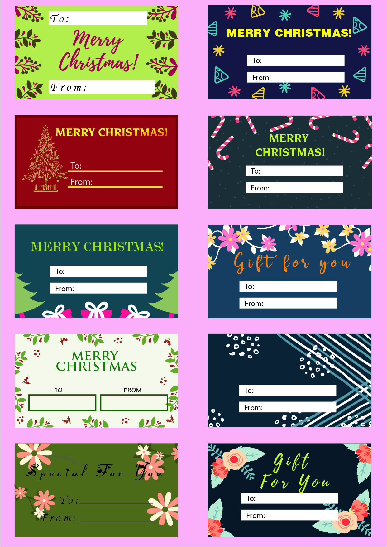 To & from Amazing Christmas gift tag 20 Print ready pdf