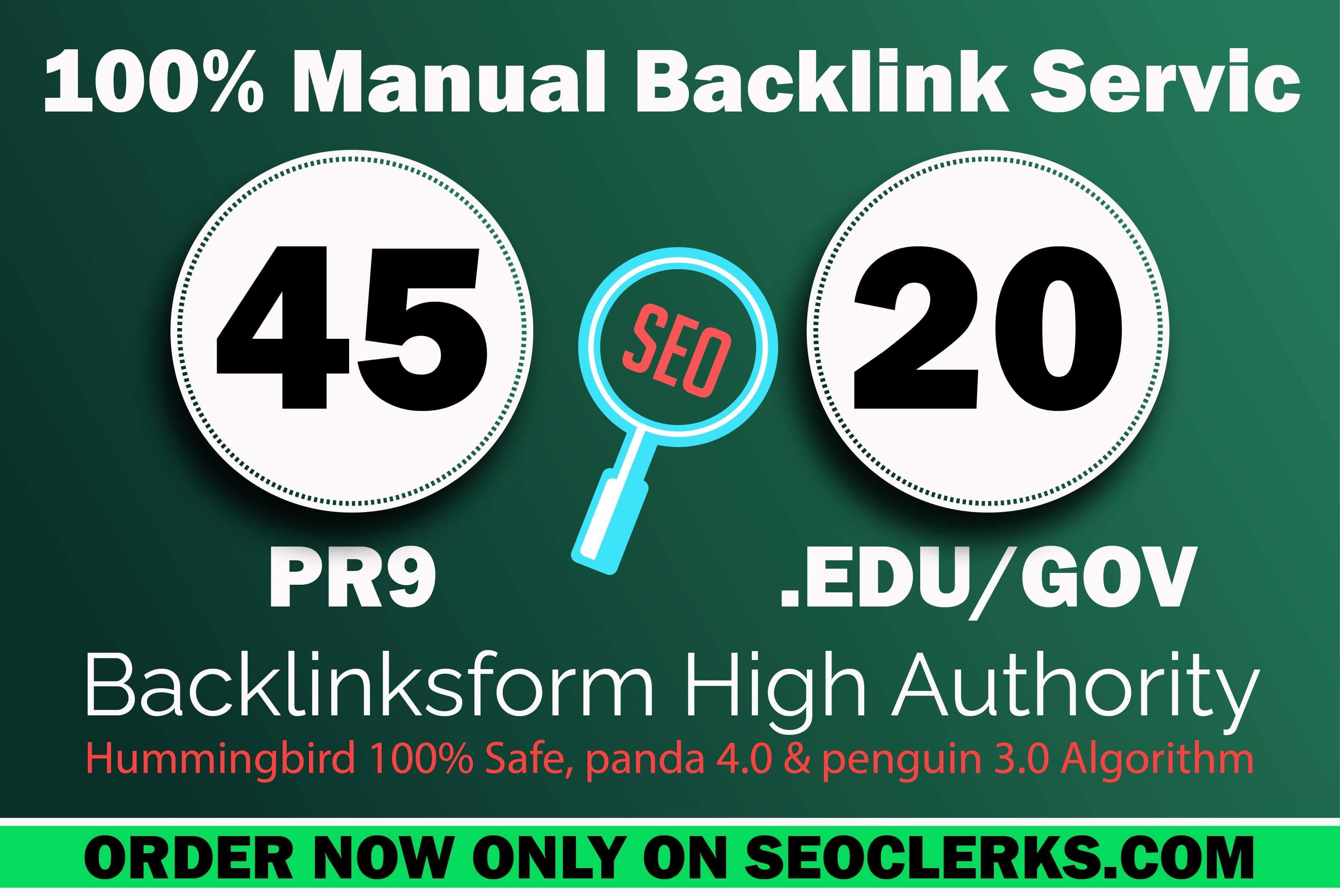 Create manually 45 PR9 & 20 EDU/GOV High Profile Backlinks with High DA.