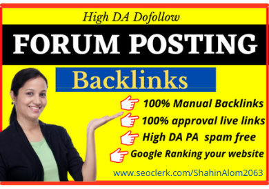 I will do manually 50 high authority forum posting backlinks