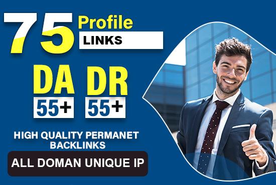 create 75 50 to 98DA high authority profile backlinks