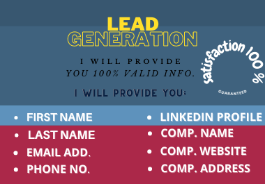 I Will Provide You Lead Generation And B2B/B2C/Data Entry Leads