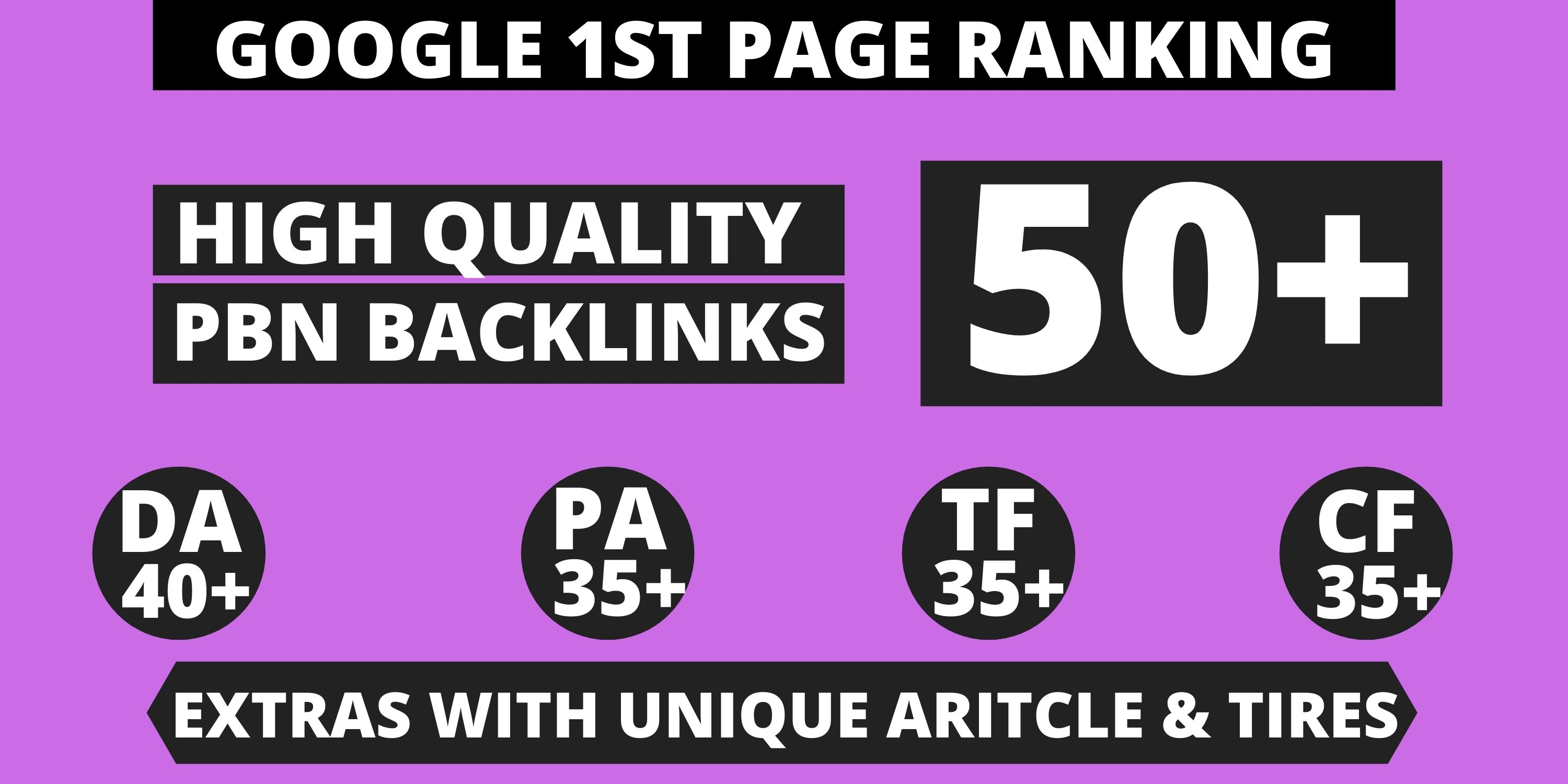 Get Extreme 50+ PBN Backlink in your website homepage with HIGH DA/PA/TF/CF with unique website