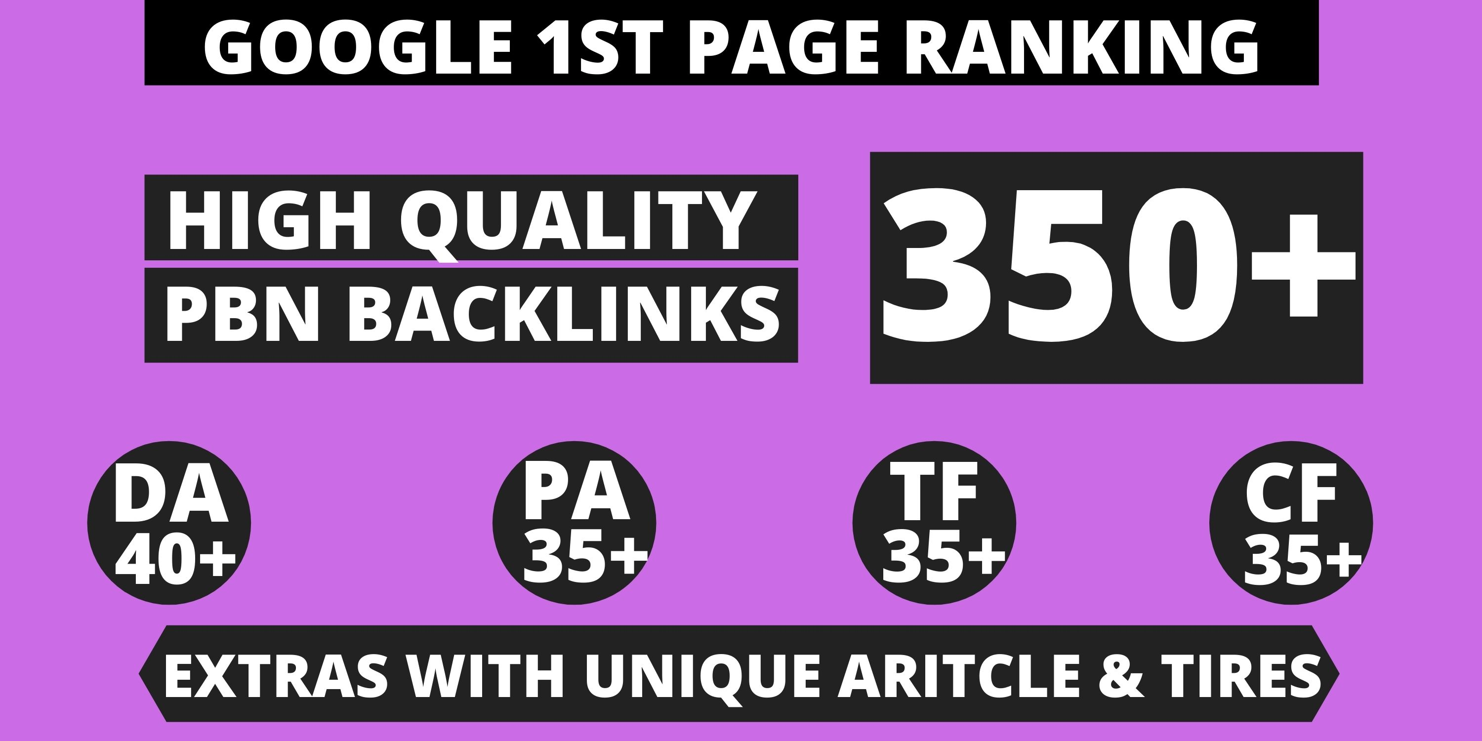 Get Extreme 350+ PBN Backlink in your website homepage with HIGH DA/PA/TF/CF with unique website