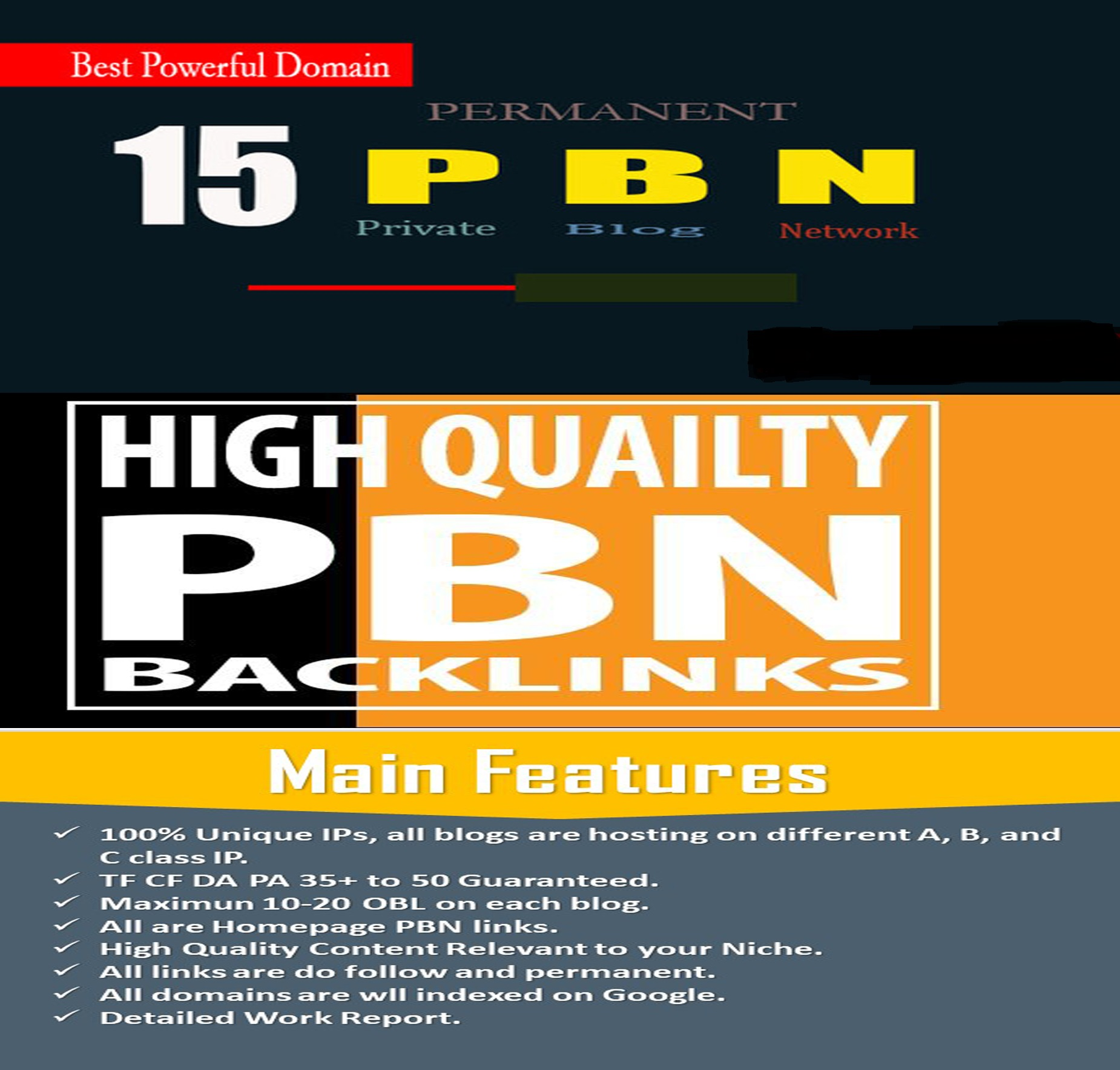 I will manually do 15 high DA PA TF CF homepage PBN backlinks