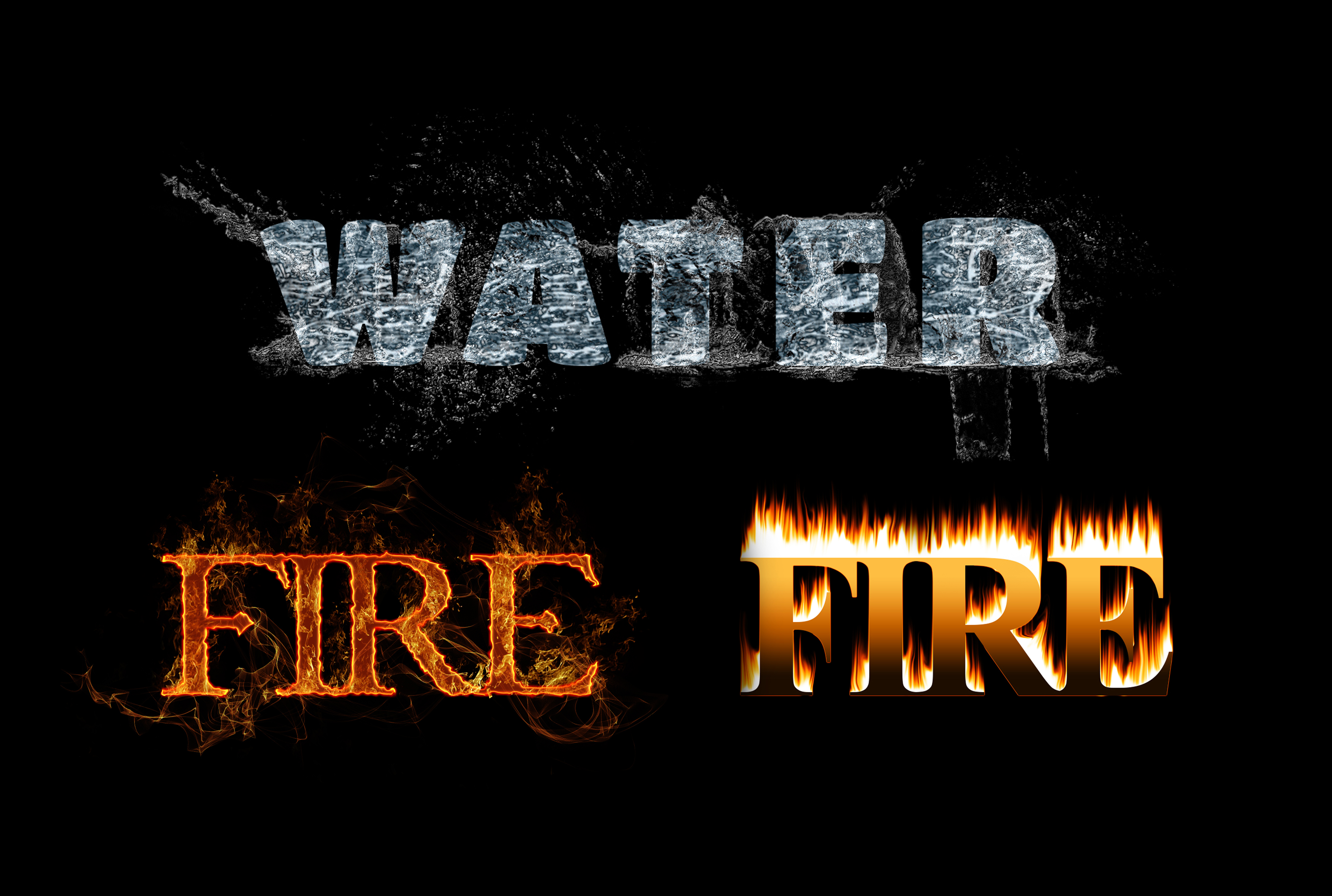 I will create text effects like fire flame text effect,  water text effect