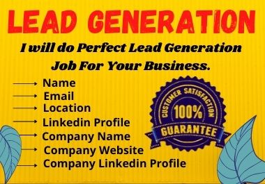 I will do Perfect lead generation job for your Business.