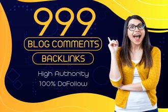 I will manually create 999 dofollow blog comments SEO backlinks
