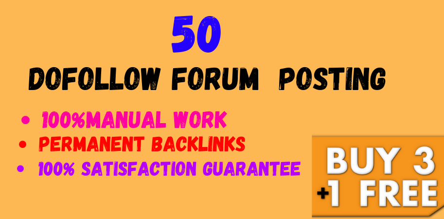 50 Forum Posting High Quality DA & PA SEO Permanent Backlinks Google Index Guarantee