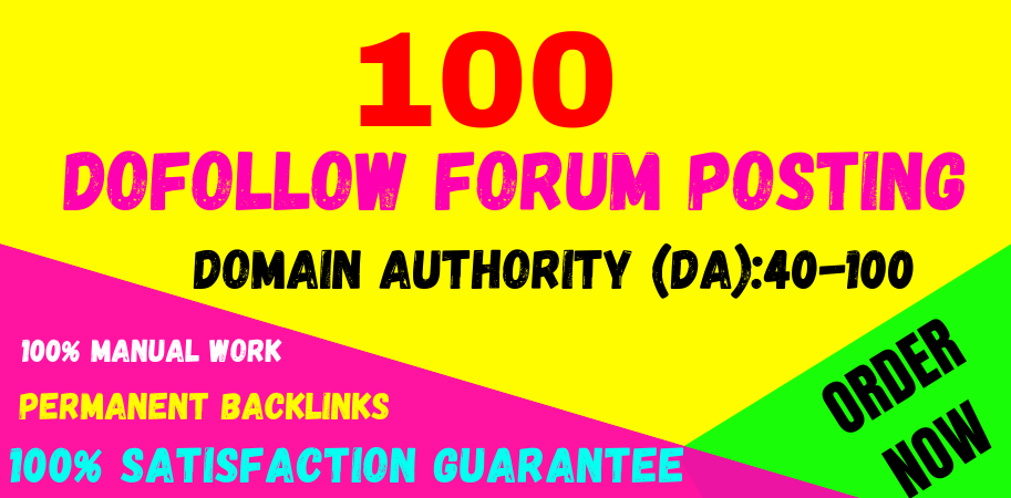 Manually Create 100 forum posting high quality da & PA off page seo permanent linkbuilding