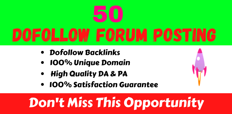 50 High Quality Dofollow Forum Posting off page seo linkbuilding