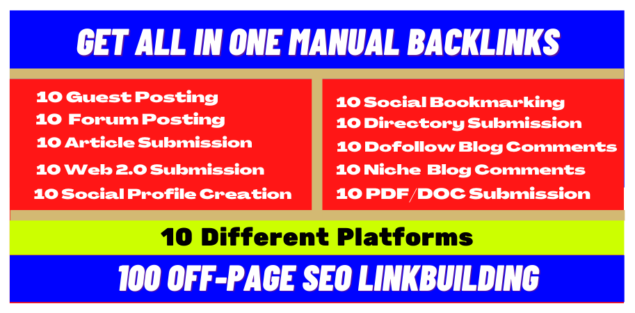 100 All In One Package Manual Off Page SEO Link Building From 10 Different Platform