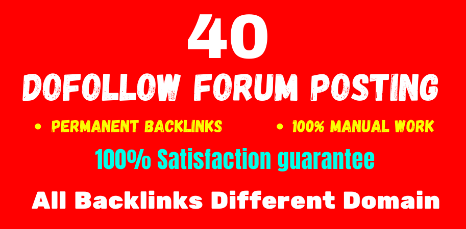 Manually Create 40 forum posting high quality da & PA off page seo permanent linkbuilding