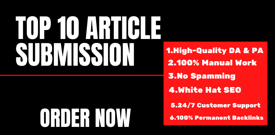 I will do top 10 high quality article submission off page seo backlinks