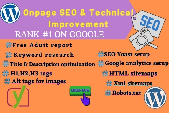 I will do on-page SEO and technical optimization of the WordPress site