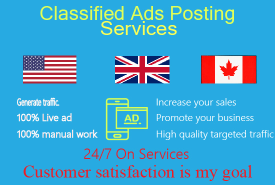 I will post 100+ ads in USA top classified ad posting sites