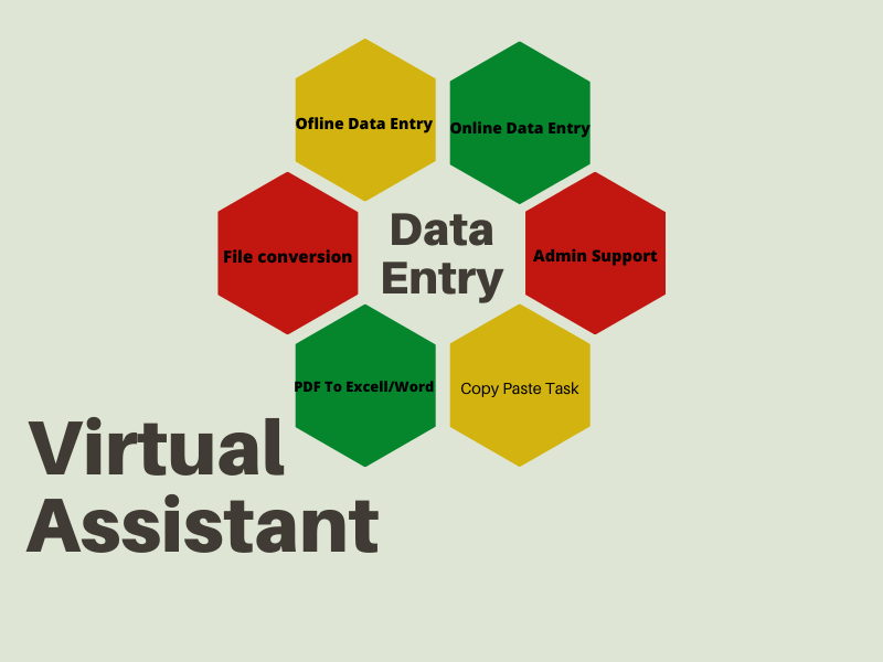 I can support your virtual assistant for data entry,  admin support,  copy paste,  web research