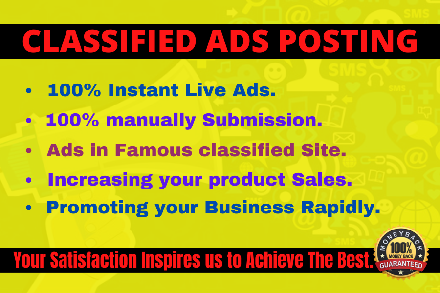 I will submit 50 classified Ad Posting to top rank website