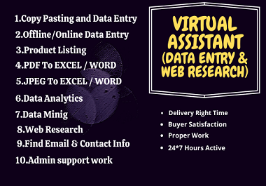 I will do professional data entry,  web research,  data conversion,  admin support
