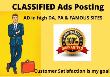 I will post your ads on 50 top rank classified ad posting side for google rank