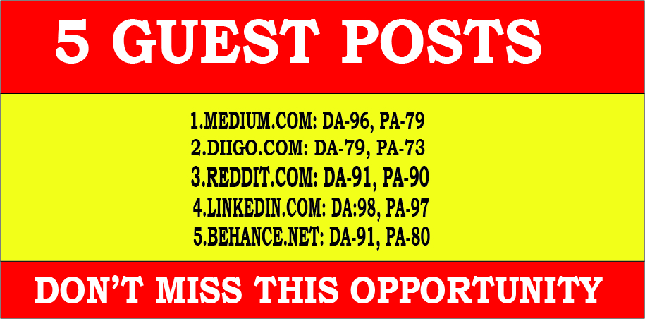 Write and Publish 5 Guest Posts on High TF CF DA PA Sites