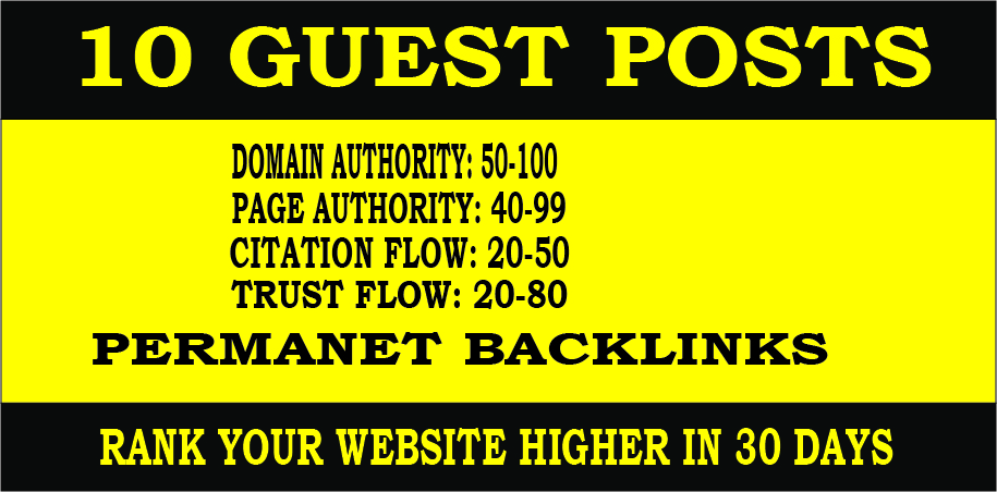 write publish 10 HQ Guest Posts to Increase SEO Ranking
