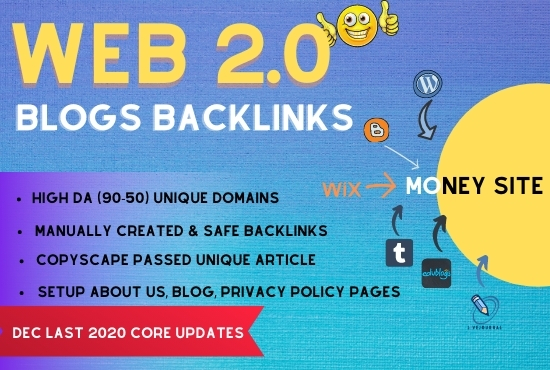 High authority 20 Web 2.0 Blogs Backlinks,  Manual building for boost ranking of your website