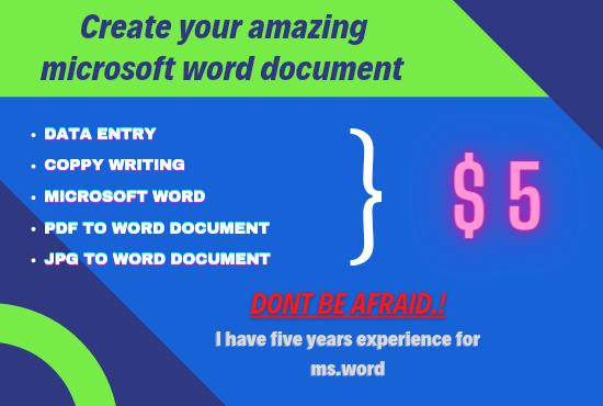 Create your amazing microsoft word document