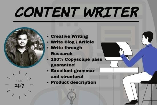 Content Writing Service from 500 to 1000 words Article,  or blog writer on any topic.