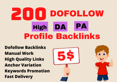 I will create 200 High DA PA Profile Backlinks manually for SEO ranking