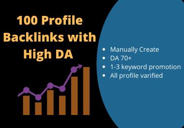 50 high authority social profile backlinks DA 80+ website only